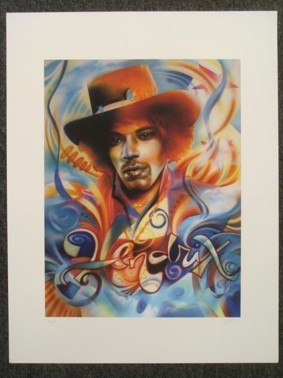 Jimmi Hendrix Signed Print Shen AP Psychedelic World