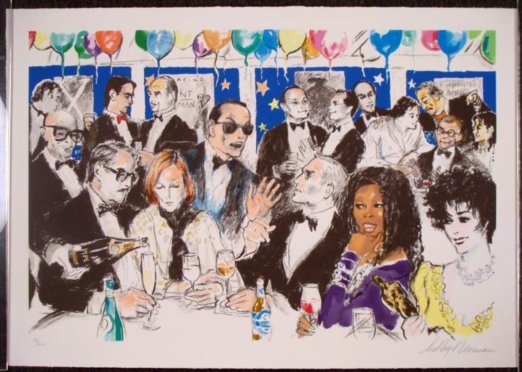 Celebrity Night at Spago Signed LeRoy Neiman Art Print