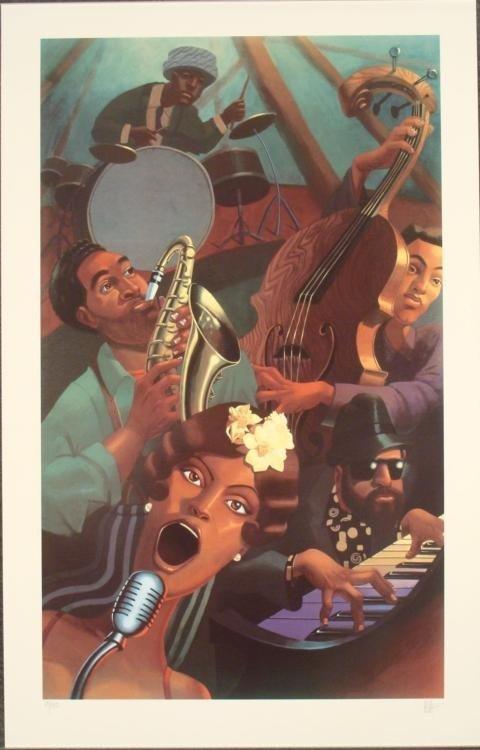 Justin Bua : Jazz Quintet Urban Art Print