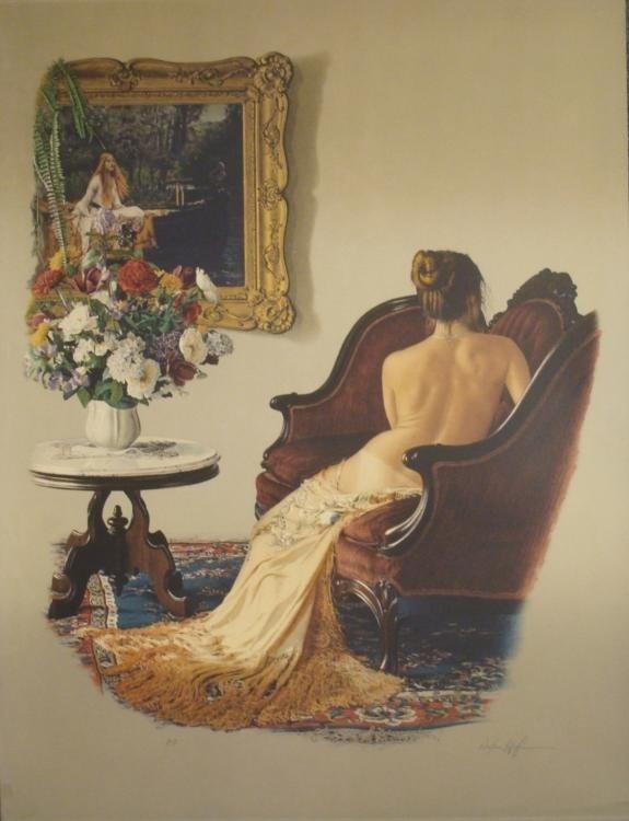 Douglas Hofmann Signed Nude Art Print -Woman in Chair