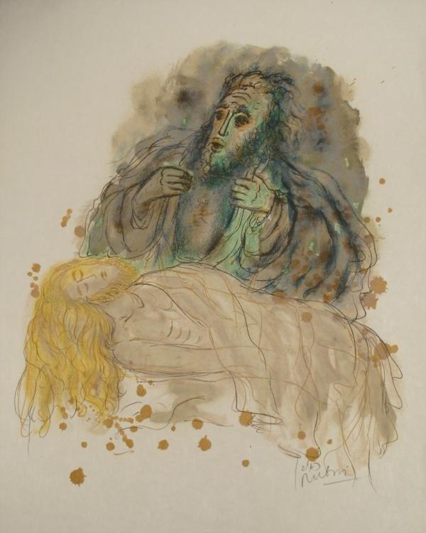 Reuven Rubin Signed Art Print Abraham's Sacrifice Isaac