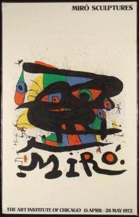 Miro Sculptures Exhibit Art Institute 1972 Poster Print