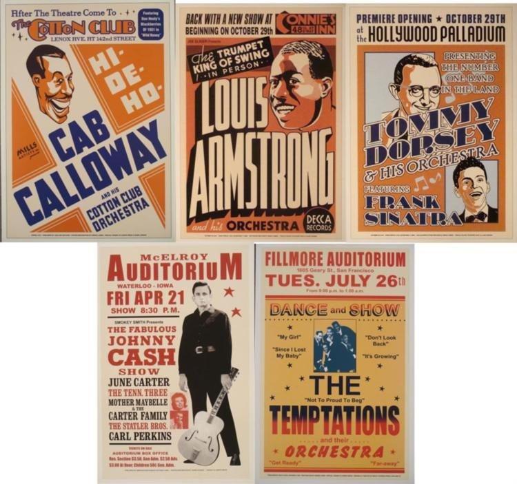 5 Singer Legends Concert Repro Posters Sinatra, Cash