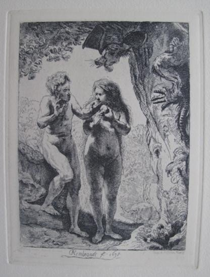 Rembrandt ADAM AND EVE Etching