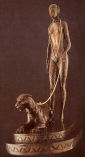 La Femme A La Panther by Erte Bronze 15 Hi