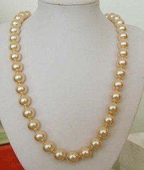 Stunning 9-10MM Akoya Gold Pearl Necklace