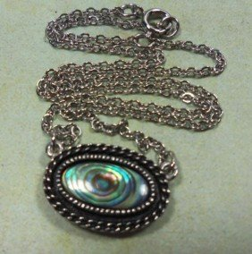 Vintage SARAH COVENTRY Silver Abalone Pendant Necklace