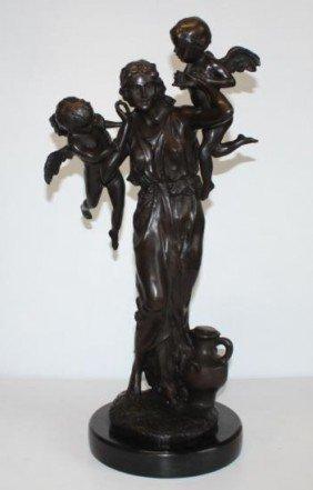 Massive Bronze Sculpture Mother and Cherubs
