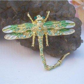 Peridot & Swarovski Crystal Dragonfly Brooch Pin