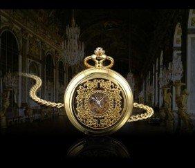 Vintage Style Golden Steel Case Skeleton Pocket Watch