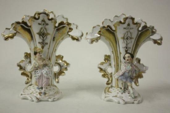 Pair mid 19th Century Porcelain Flair Vases