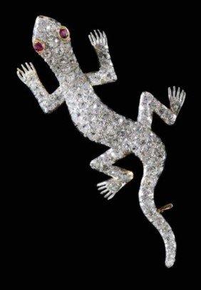 Vintage Platinum and 1930's Diamond Salamander Brooch