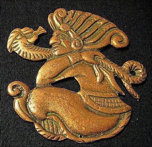 MAYAN CALENDAR GOD Coppertoned plaque