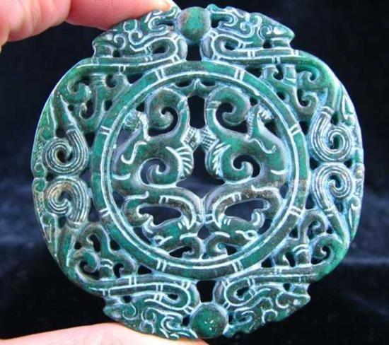 Handcarved Green Jade Pendant