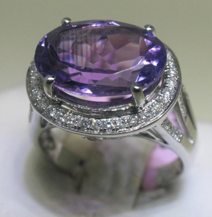 Amethyst and .54 Carat Diamonds 14K White Gold Ring