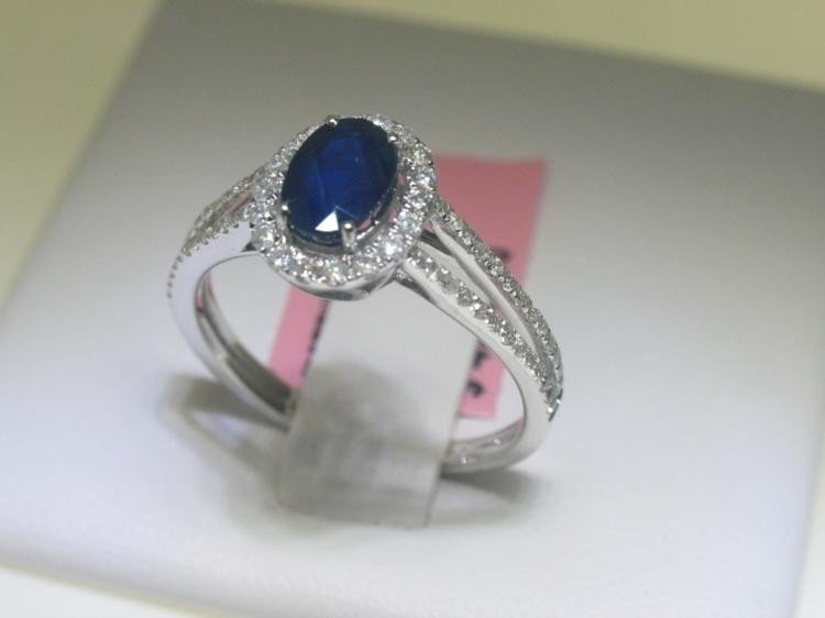 Blue Sapphire and Diamonds 14K White Gold Ring