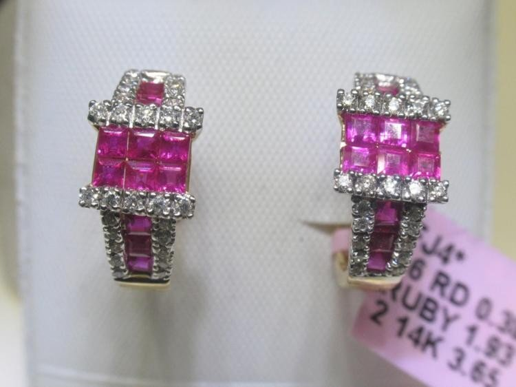 Ruby and .38 Carat Diamonds 14K Yellow Gold Earrings