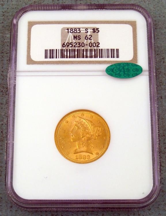1883-S $5 Liberty Gold Coin NGS MS62