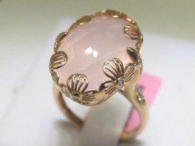 16.39CT Quartz And .21 CT Diamonds 18K Rose Gold Ring