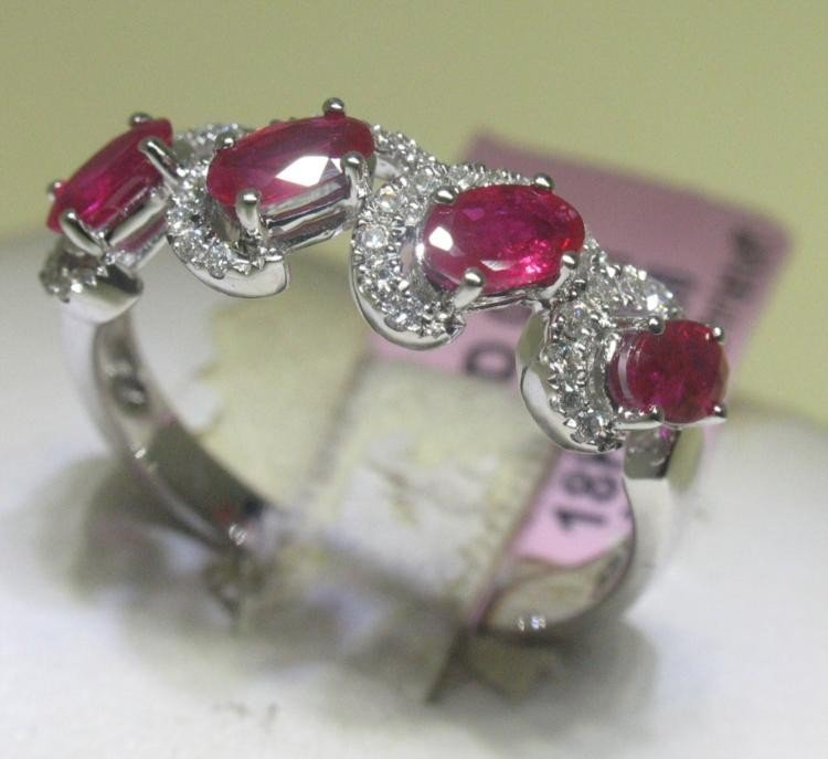 Ruby and .22 Carat Diamonds 18K White Gold Ring