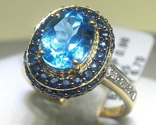 3.05CT Bl Topaz .96CT Bl Sapphires .06 CT Diamond Ring