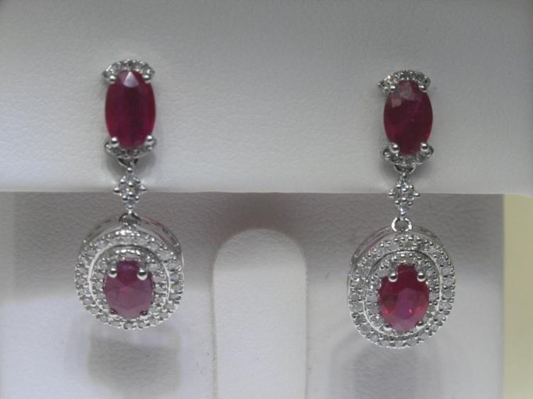 2.58 CT Ruby & .47 CT Diamonds 14K White Gold Earrings