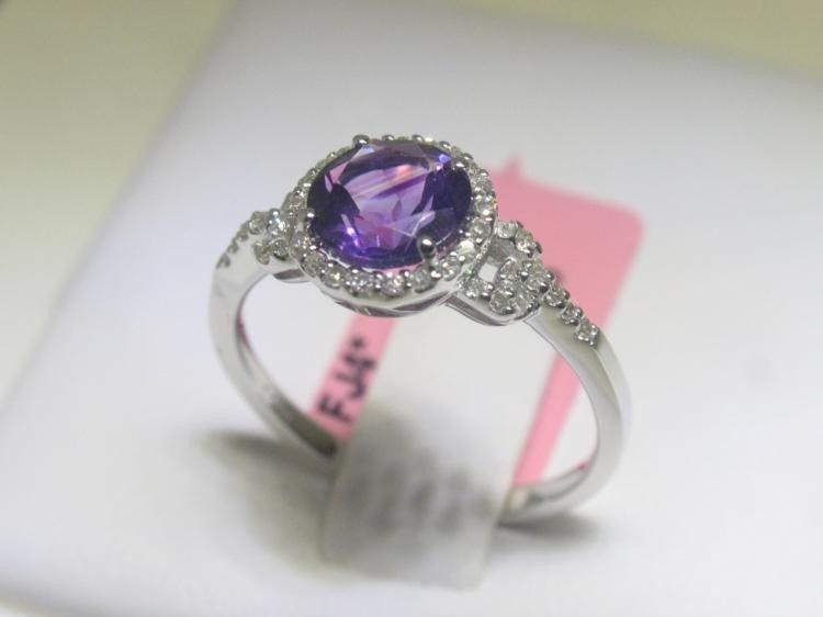 1.08CT Amethyst & .18 CT Diamonds 14K White Gold Ring