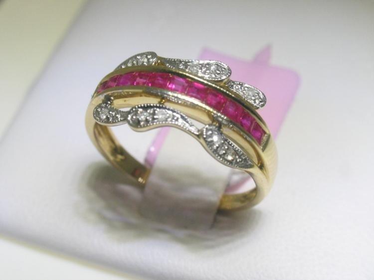 Ruby and .06 Carat Diamonds 14K Yellow Gold Ring