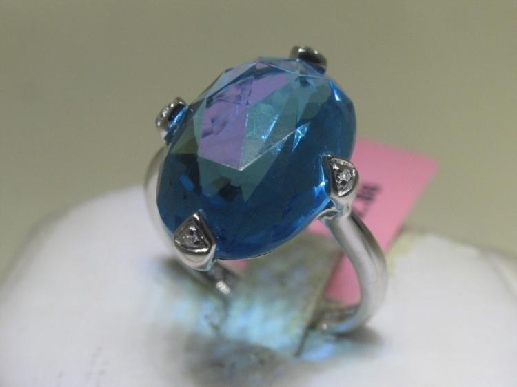 Blue Topaz and Diamonds 14K White Gold Ring Earring Set