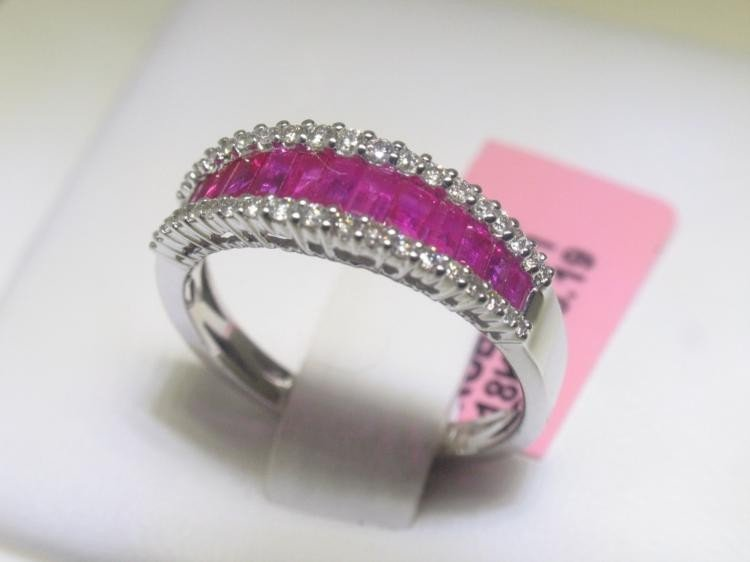 1.11 CT Ruby and .22 Carat Diamonds 18K White Gold Ring