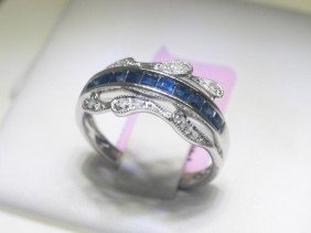 Blue Sapphire And .06 CT Diamonds 14K White Gold Ring