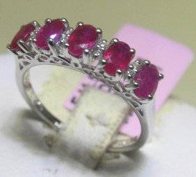 Ruby And .05 Carat Diamonds 14K White Gold Ring