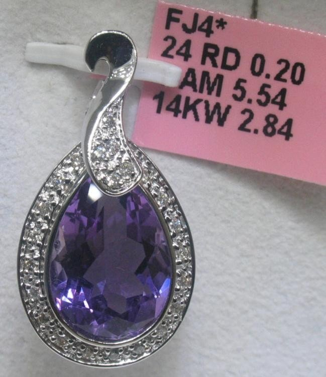 Amethyst and .20 CT Diamionds 14K White Gold Pendant