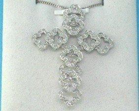 14K White Gold Cross Pendant .59 Carats All Diamonds