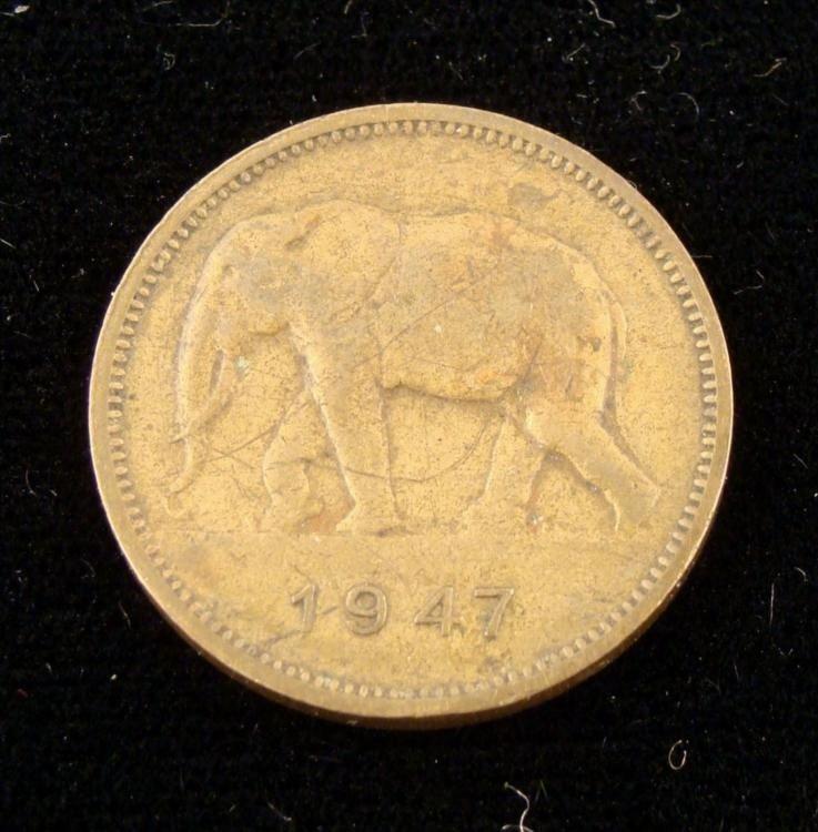 Rare Scarce 1947 2 Franc Elephant Coin Belgium Congo