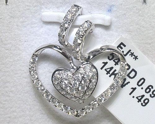 .69 CT All Diamonds 14K White Gold Heart Design Pendant