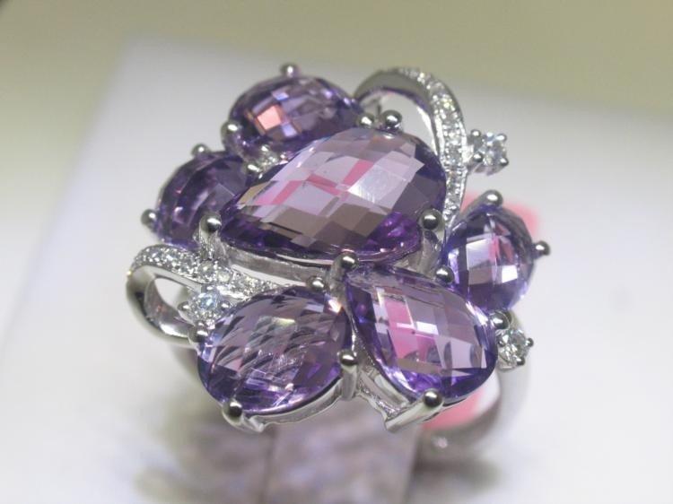 7.99CTs Amethyst & .17 CT Diamonds 14K White Gold Ring