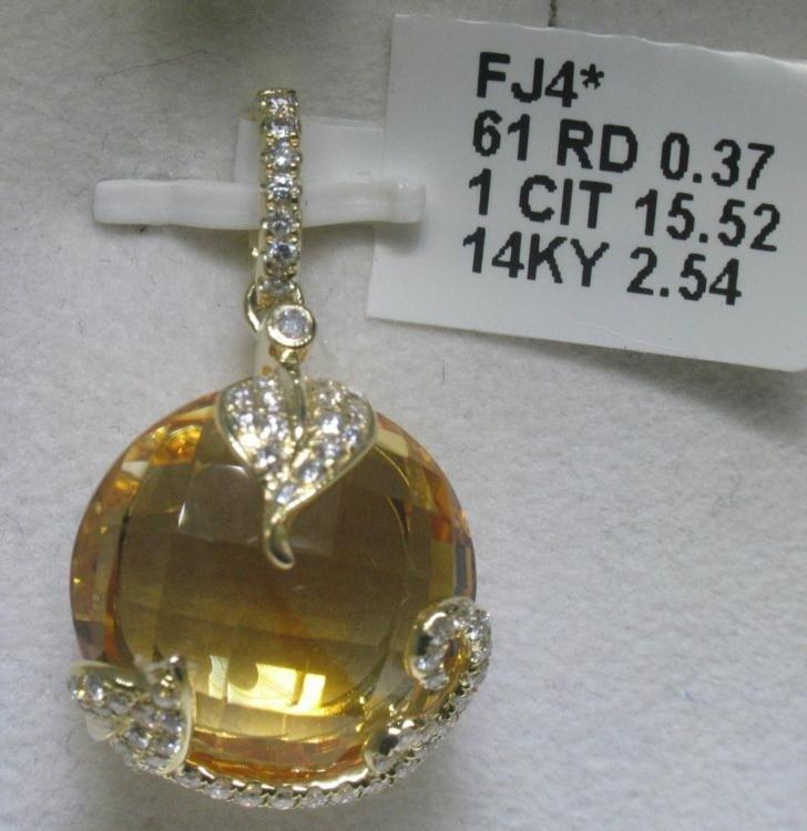 .37 Carat Diamonds and Citrine 14K White Gold Pendant