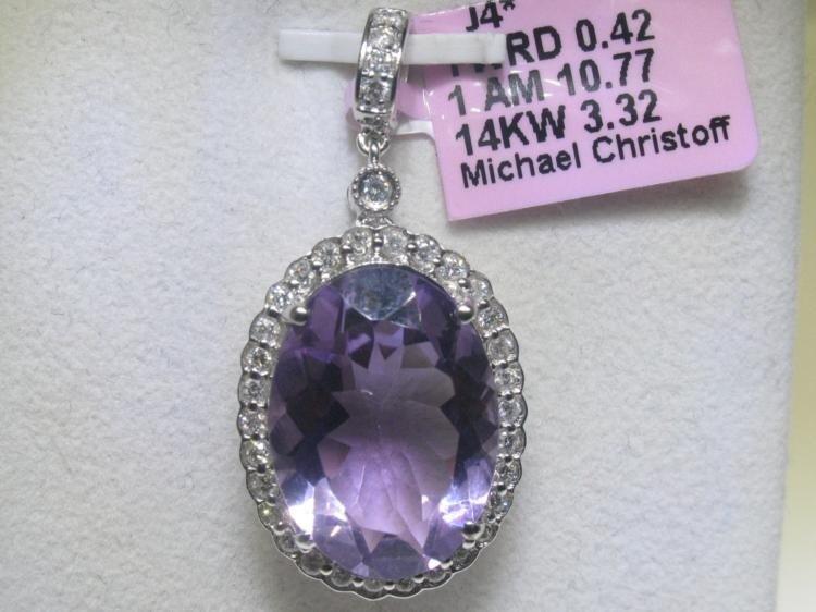 10.77 CT Amethyst and .42 CT Diamonds 14K WG Pendant