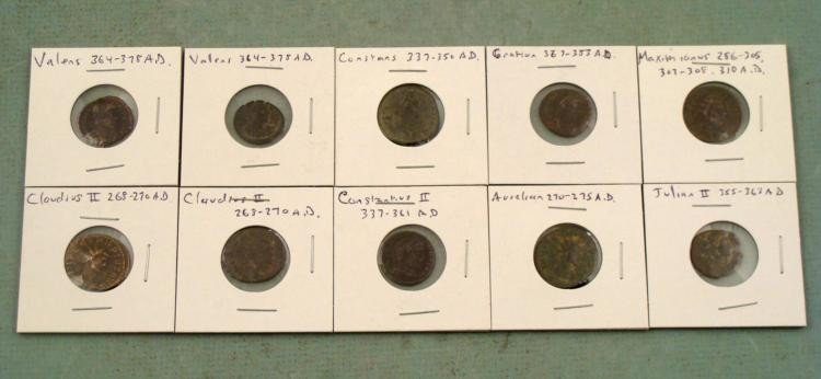 10 Ancient Roman Coins Maximianus Constantius II Valens