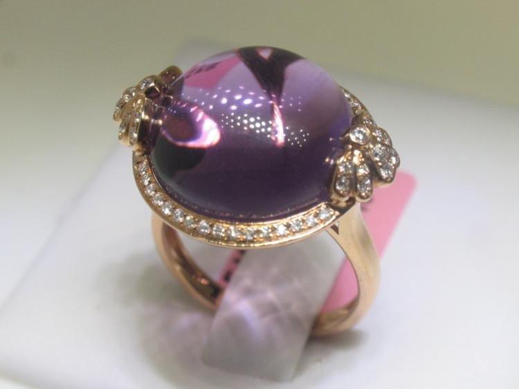 18.24 CT Amethyst & .26 CT Diamonds 18K Rose Gold Ring