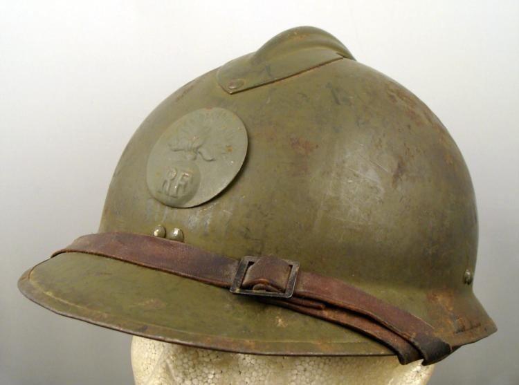 WWII French Adrian Helmet w/ Artillery Insignia