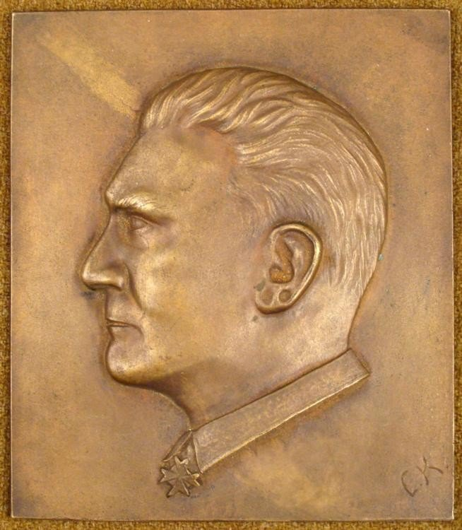 ORIGINAL NAZI PERIOD BRASS PLAQUE OF HERMANN GOERING