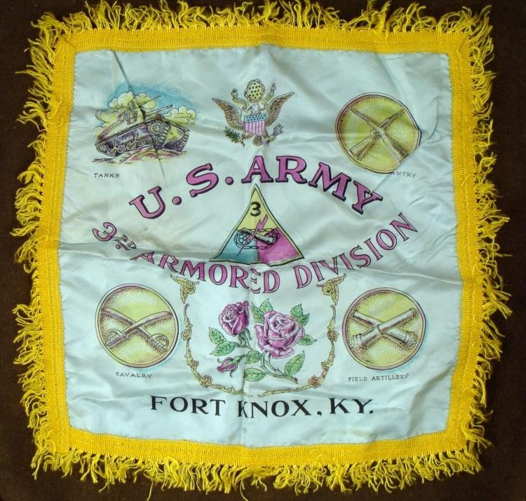 WWII US ARMY 3RD ARMORED DIV SWEETHEART PILLOW CASE