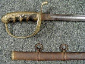 US 1902 Wartime Sword & Scabbard, W/ Cast Metal Grip