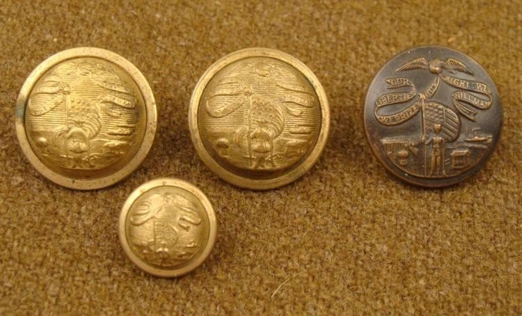 4 Iowa State Original Post Civil War Military Buttons