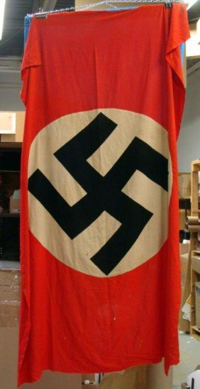 WWII Nazi Germany Flag With Swastika-Ripped Off Balcony