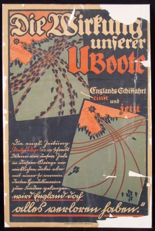 WWI GERMAN ORIG PROPAGANDA POSTER U-BOATS BY ENGLAND
