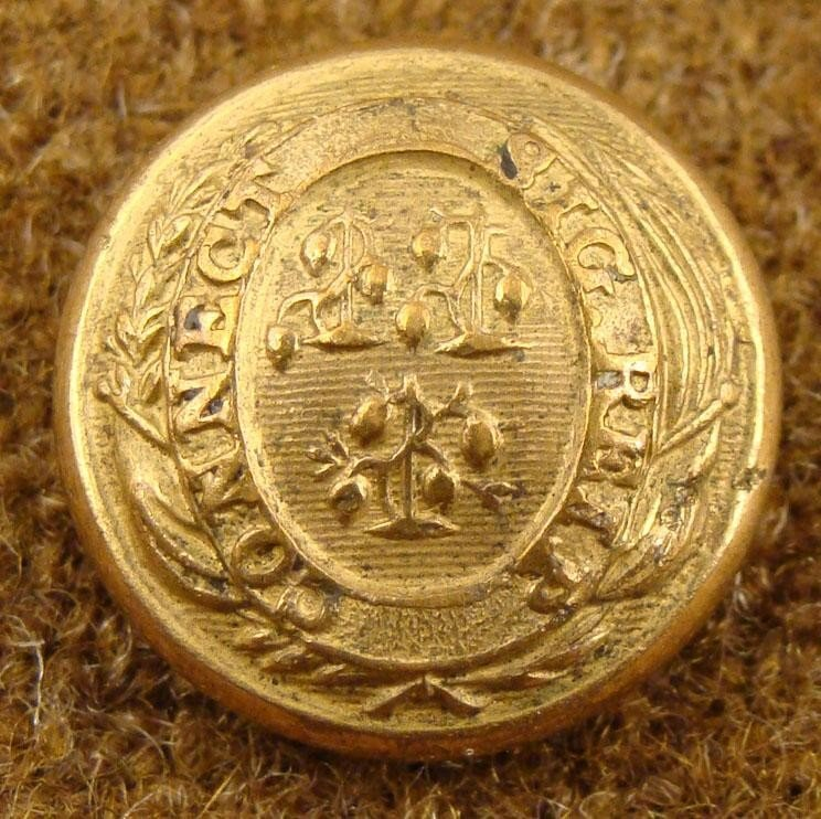Connecticut Civil War Military Gold Antique Button