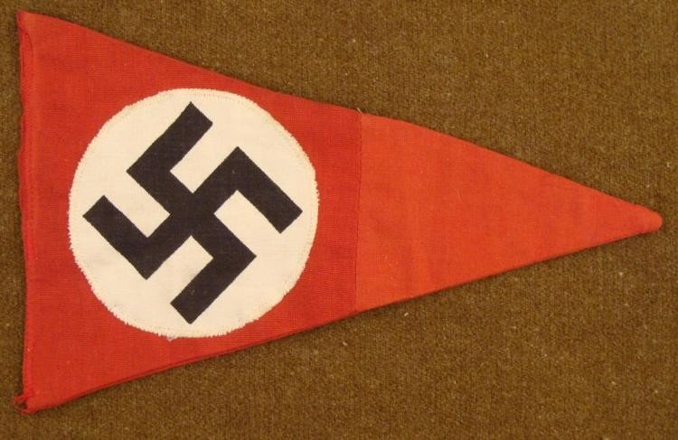 WWII ORIG NAZI PENNANT-MULTI-PIECE-EARLY-NR. MINT